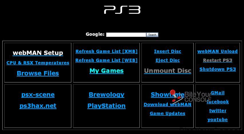 PS3 Internet Browser Homepage