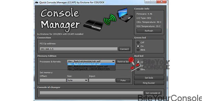 Package Content Homebrew CCAPI v1.00 (CEX & DEX) FTP plugin Console Manager.exe.